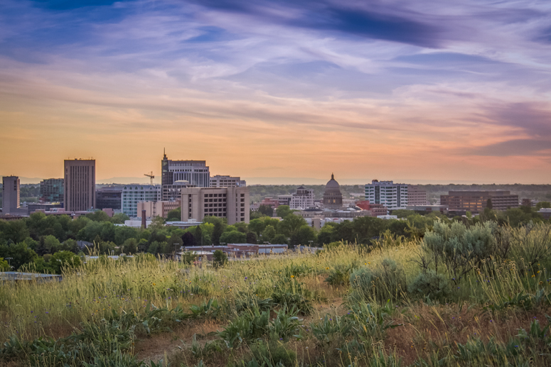 Photo of downtown Boise taken from the foothills
