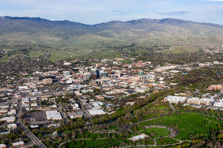 Boise Idaho aerial of growth pattern