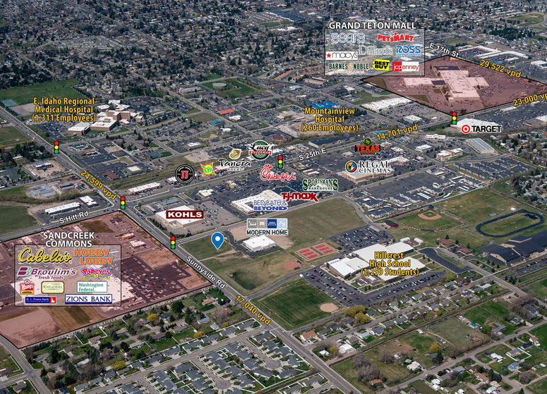 Aerial image of Ammon Idaho showing retail center Hillcrest Plaza