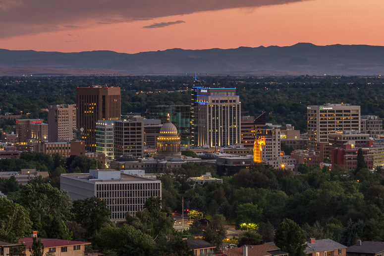 View of Boise Idaho at dusk downtown office lights summer